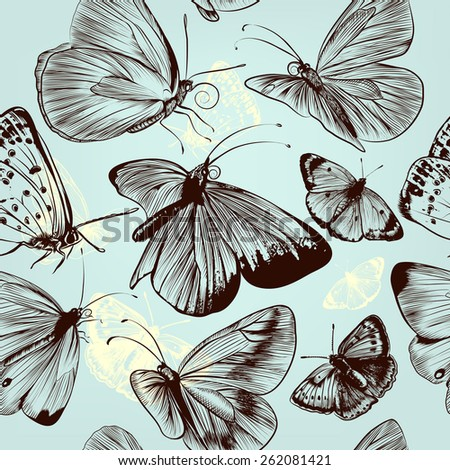 Seamless pattern with engraved butterflies in vintage style - stock vector