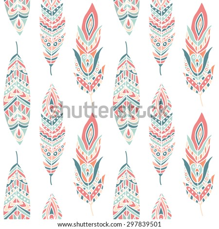 Seamless Pattern with Ethnic Feathers, hand drawn vector illustration, can be used for wallpaper, web page background, greeting cards, fabric print - stock vector