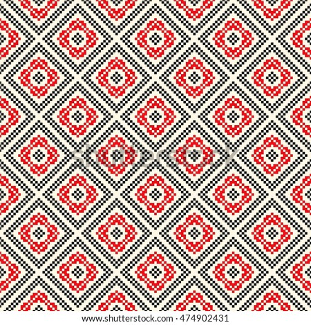 Seamless pattern with ethnic geometric abstract ornament. Cross stitch slavic embroidery motifs. Decorative elements in traditional red and black colors on white background. Vector illustration.