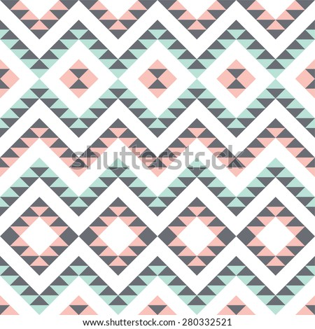 seamless pattern with ethnic geometric ornament - stock vector