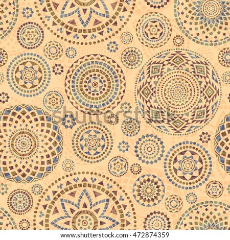 Seamless pattern with ethnic motives. Mandala stylized print template for fabric and paper.