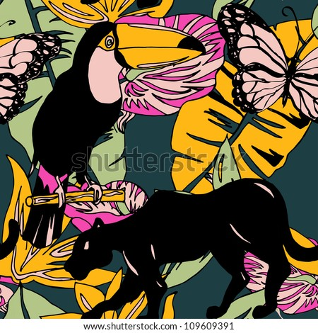 Seamless pattern with exotic plants and animals in vector - stock vector