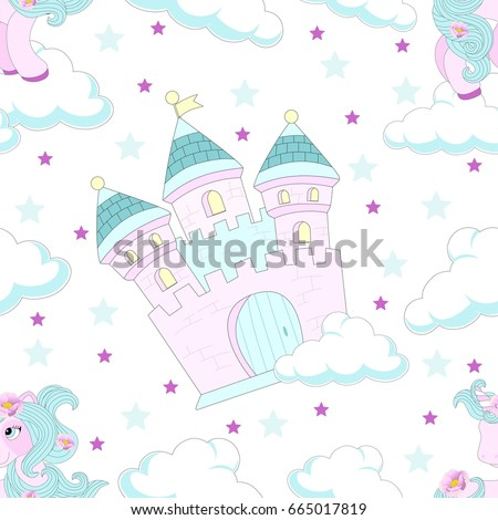 Seamless pattern with fairy tale castle. Beautiful background. Vector illustration.