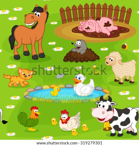 seamless pattern with farm animals - vector illustration, eps - stock vector