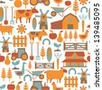 seamless pattern with farm related items - stock vector
