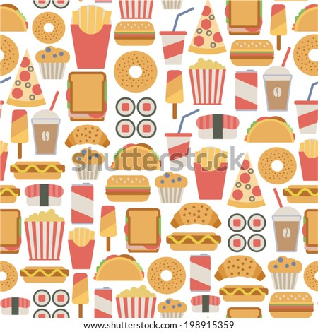 seamless pattern with fast food icons - stock vector