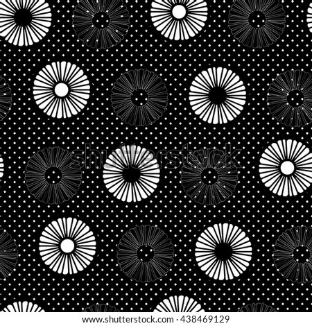 Seamless pattern with feathers chamomiles in spotty background. Black and white.