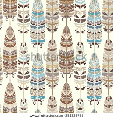 Seamless pattern with feathers. Tribal art ethnic repeating background texture,  boho, vintage style. Cloth design, wallpaper, wrapping - stock vector