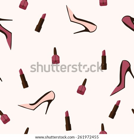 Seamless pattern with feminine little things - stock vector
