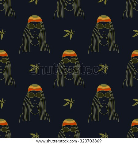 Seamless pattern with figures in the style of reggae on a dark background - stock vector