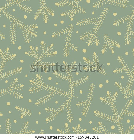 Seamless pattern with fir branches. Vector illustration. - stock vector