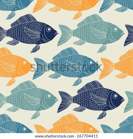 Seamless pattern with fish. - stock vector
