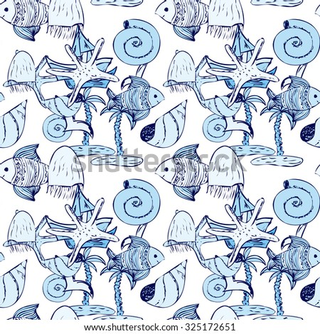 Seamless pattern with fish, jellyfish, seagull, palm tree, yacht and sea shells. Sea background. Vector illustration.