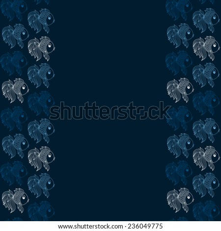 seamless pattern with fish on a blue background