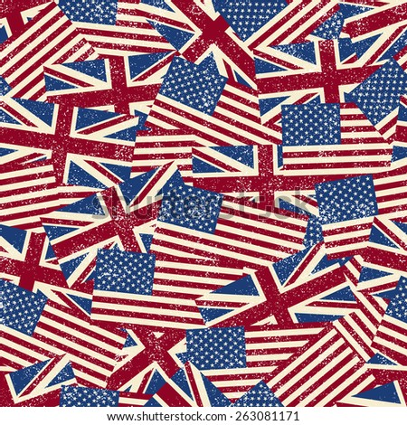 Seamless pattern with flags. Vector illustration. Grunge effect can be cleaned easily. - stock vector