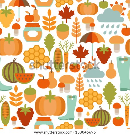 seamless pattern with flat autumn icons