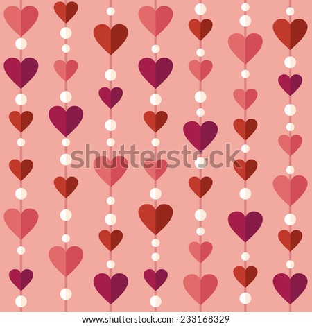 Seamless pattern with flat hearts