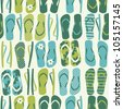 Seamless pattern with flip flops in green and blue. - stock vector