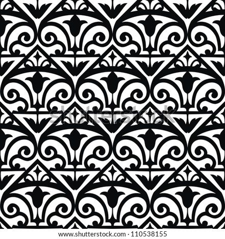 Seamless pattern with floral and geometrical ornament. Vector decorative background. - stock vector