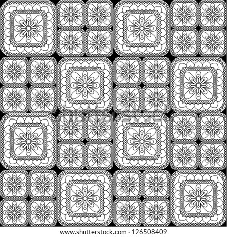 Seamless pattern with floral and geometrical ornament. Vector decorative background. Black and white illustration - stock vector