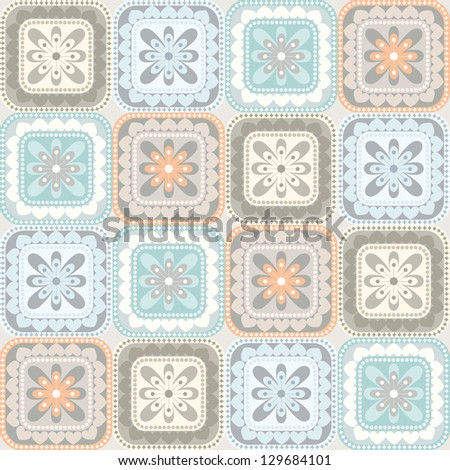 Seamless pattern with floral and geometrical ornament. Vector decorative background. Pastel colored illustration - stock vector