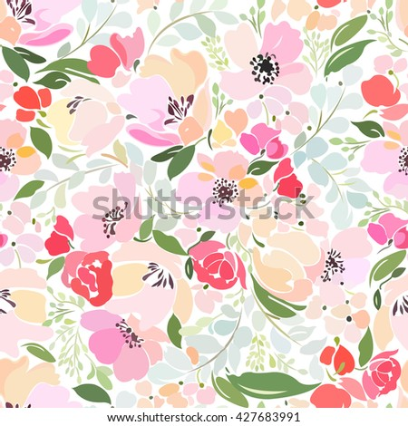 Seamless pattern with floral design elements with abstract roses, peony, poppy and twigs with leaves. - stock vector