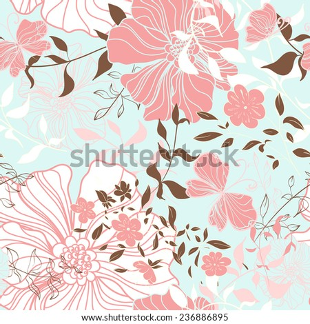 Seamless pattern with floral elements. Vintage background. Vector illustration.