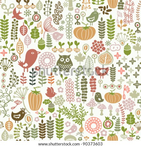 seamless pattern with floral ornament - stock vector