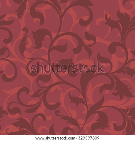 Seamless pattern with floral tracery on a red background - stock vector