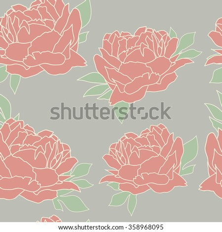 Seamless pattern with flores.Wallpaper with peonies