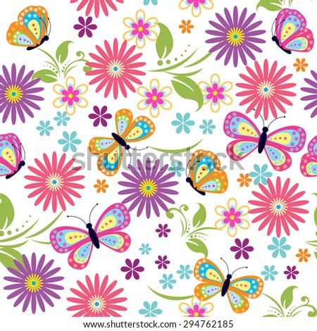 Seamless pattern with flower and butterfly for design fabric,backgrounds, package, wrapping paper, covers, fashion  - stock vector