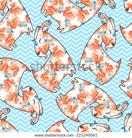Seamless pattern with flower goat - stock vector