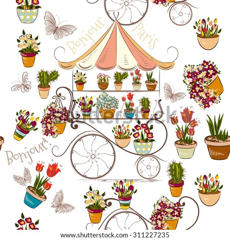 Seamless pattern with flower shop or boutique fully of flowers - stock vector