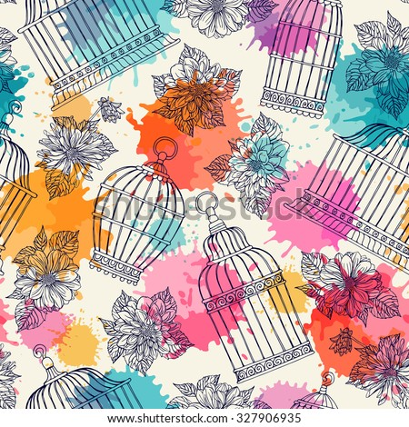 Seamless pattern with flowers and bird cages. Dahlias. Freehand drawing. - stock vector
