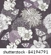 Seamless pattern with flowers and butterfly. Floral background. - stock vector