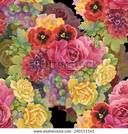 Seamless pattern with flowers and grape on black background vector illustration - stock vector