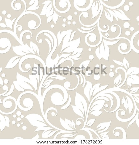 Seamless pattern with flowers and leaves. Floral ornament. - stock vector