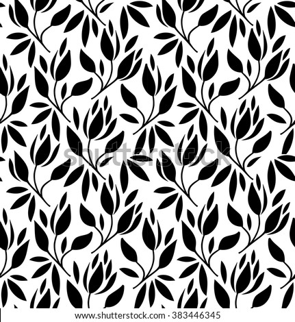 Seamless pattern with flowers and leaves. Vector graphic texture - stock vector