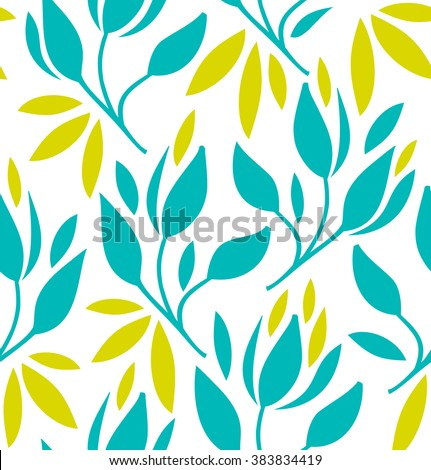 Seamless pattern with flowers and leaves. Vector vintage bright texture - stock vector