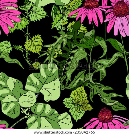 Seamless pattern with flowers and plants on a black background - stock vector