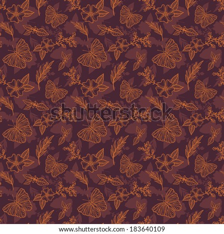 Seamless pattern with flowers, butterflies and leafs
