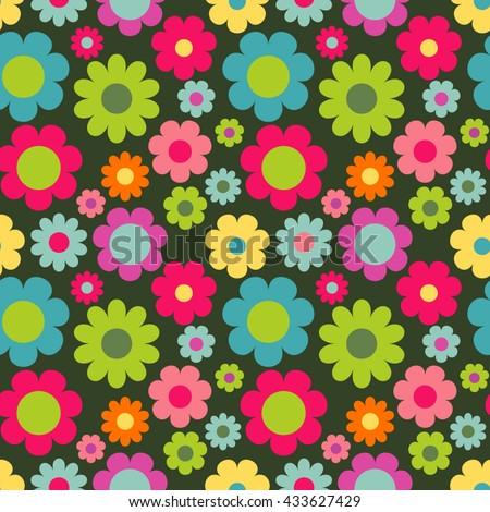 Seamless pattern with flowers. Colorful vintage background.  - stock vector