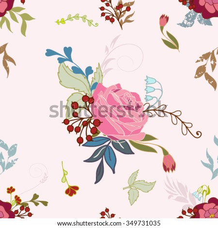 Seamless pattern with flowers, eps 10 format - stock vector