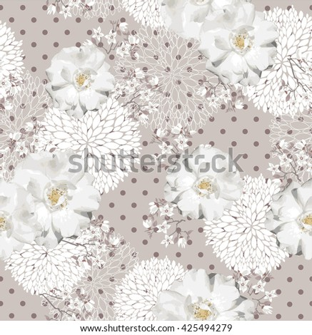 Seamless pattern with flowers Floral background with roses and cherry blossom - stock vector