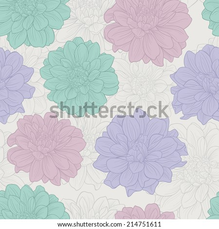 Seamless pattern with flowers . Floral ornament.Hand-drawn contour lines and strokes. Wedding background. - stock vector