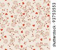 Seamless pattern with flowers lotos, vector floral illustration in vintage style - stock vector