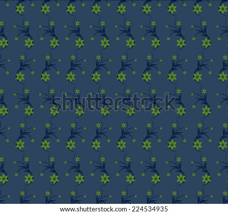 Seamless pattern with flowers on a blue background - stock vector