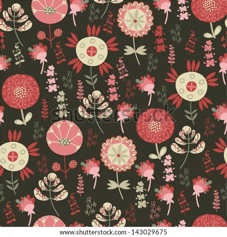 Seamless pattern with flowers on a dark background
