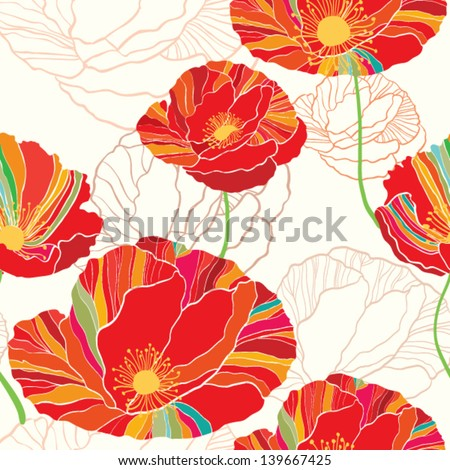 seamless pattern with flowers on a red background - stock vector
