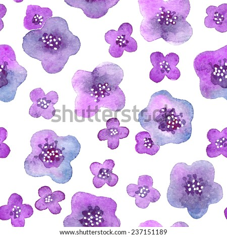 Seamless pattern with flowers. Watercolor violets. Vector illustration. - stock vector